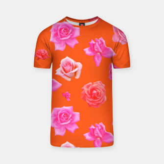 Thumbnail image of Pink Roses on Orange T-shirt, Live Heroes