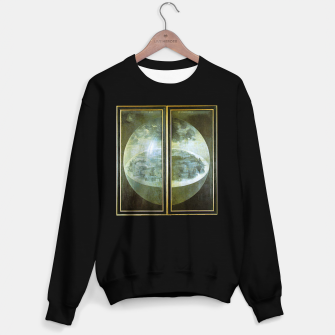 Fashion and decor items of Hieronymus Bosch painting The Creation of the World - The exterior shutters of The Garden of Earthly Delights Sweater regular Bild der Miniatur