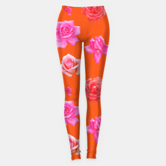 Thumbnail image of Pink Roses on Orange Leggings, Live Heroes