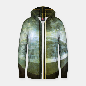 Fashion and decor items of Hieronymus Bosch painting The Creation of the World - The exterior shutters of The Garden of Earthly Delights Zip up hoodie Bild der Miniatur
