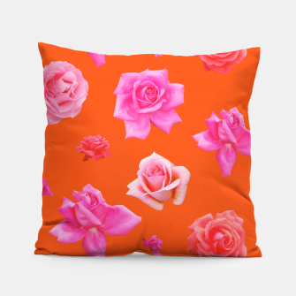 Thumbnail image of Pink Roses on Orange Pillow, Live Heroes