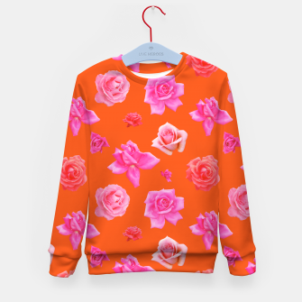 Thumbnail image of Pink Roses on Orange Kid's sweater, Live Heroes