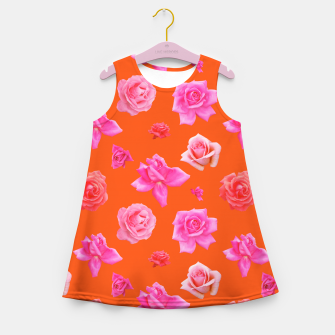 Thumbnail image of Pink Roses on Orange Girl's summer dress, Live Heroes