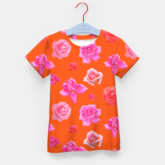 Thumbnail image of Pink Roses on Orange Kid's t-shirt, Live Heroes