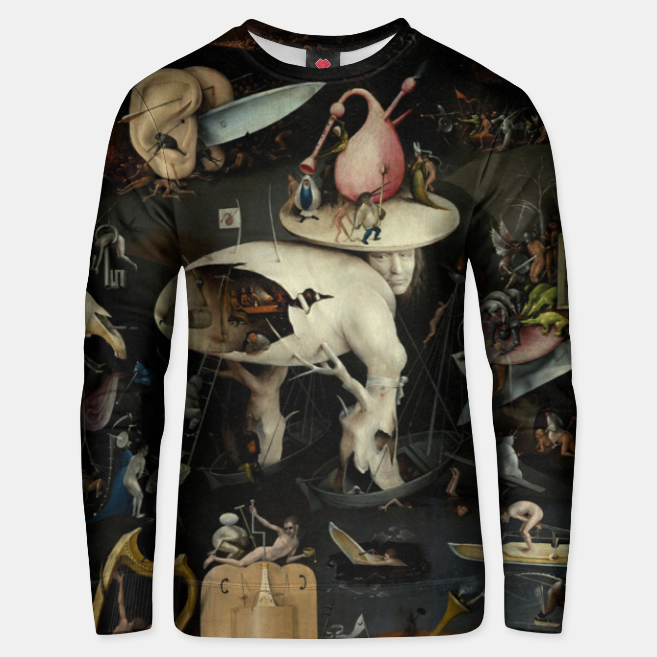 Foto Fashion and decor items from Hieronymus Bosch painting of Hell from the triptych Garden of Earthly Delights Unisex sweater - Live Heroes