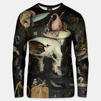 Fashion and decor items from Hieronymus Bosch painting of Hell from the triptych Garden of Earthly Delights Unisex sweater Bild der Miniatur