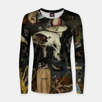 Fashion and decor items from Hieronymus Bosch painting of Hell from the triptych Garden of Earthly Delights Women sweater Bild der Miniatur