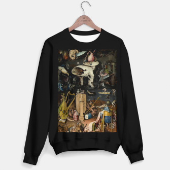 Fashion and decor items from Hieronymus Bosch painting of Hell from the triptych Garden of Earthly Delights Sweater regular Bild der Miniatur