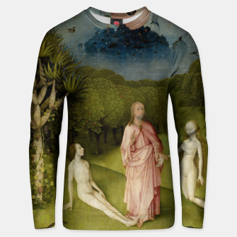 Fashion and Decor items of Hieronymus Bosch painting, Eden from the triptych Garden of Earthly Delights Unisex sweater obraz miniatury