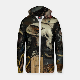 Thumbnail image of Fashion and decor items from Hieronymus Bosch painting of Hell from the triptych Garden of Earthly Delights Zip up hoodie, Live Heroes