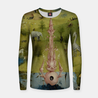 Fashion and Decor items of Hieronymus Bosch painting, Eden from the triptych Garden of Earthly Delights Women sweater Bild der Miniatur