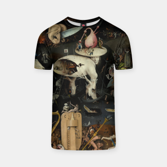 Fashion and decor items from Hieronymus Bosch painting of Hell from the triptych Garden of Earthly Delights T-shirt Bild der Miniatur