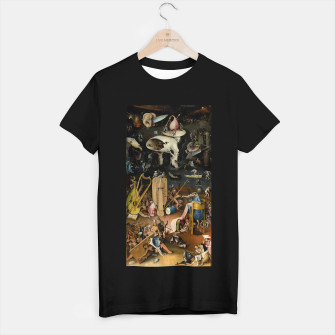 Fashion and decor items from Hieronymus Bosch painting of Hell from the triptych Garden of Earthly Delights T-shirt regular Bild der Miniatur