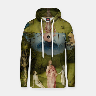 Fashion and Decor items of Hieronymus Bosch painting, Eden from the triptych Garden of Earthly Delights Hoodie Bild der Miniatur