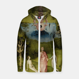 Fashion and Decor items of Hieronymus Bosch painting, Eden from the triptych Garden of Earthly Delights Zip up hoodie obraz miniatury