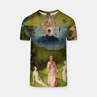 Fashion and Decor items of Hieronymus Bosch painting, Eden from the triptych Garden of Earthly Delights T-shirt Bild der Miniatur