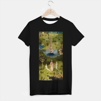 Fashion and Decor items of Hieronymus Bosch painting, Eden from the triptych Garden of Earthly Delights T-shirt regular Bild der Miniatur
