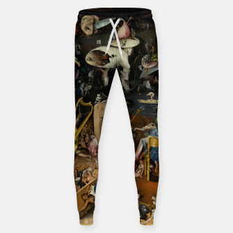 Fashion and decor items from Hieronymus Bosch painting of Hell from the triptych Garden of Earthly Delights Sweatpants obraz miniatury