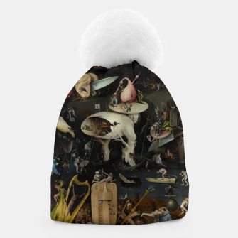 Fashion and decor items from Hieronymus Bosch painting of Hell from the triptych Garden of Earthly Delights Beanie Bild der Miniatur