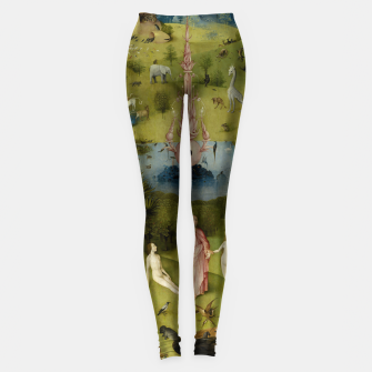 Fashion and Decor items of Hieronymus Bosch painting, Eden from the triptych Garden of Earthly Delights Leggings obraz miniatury
