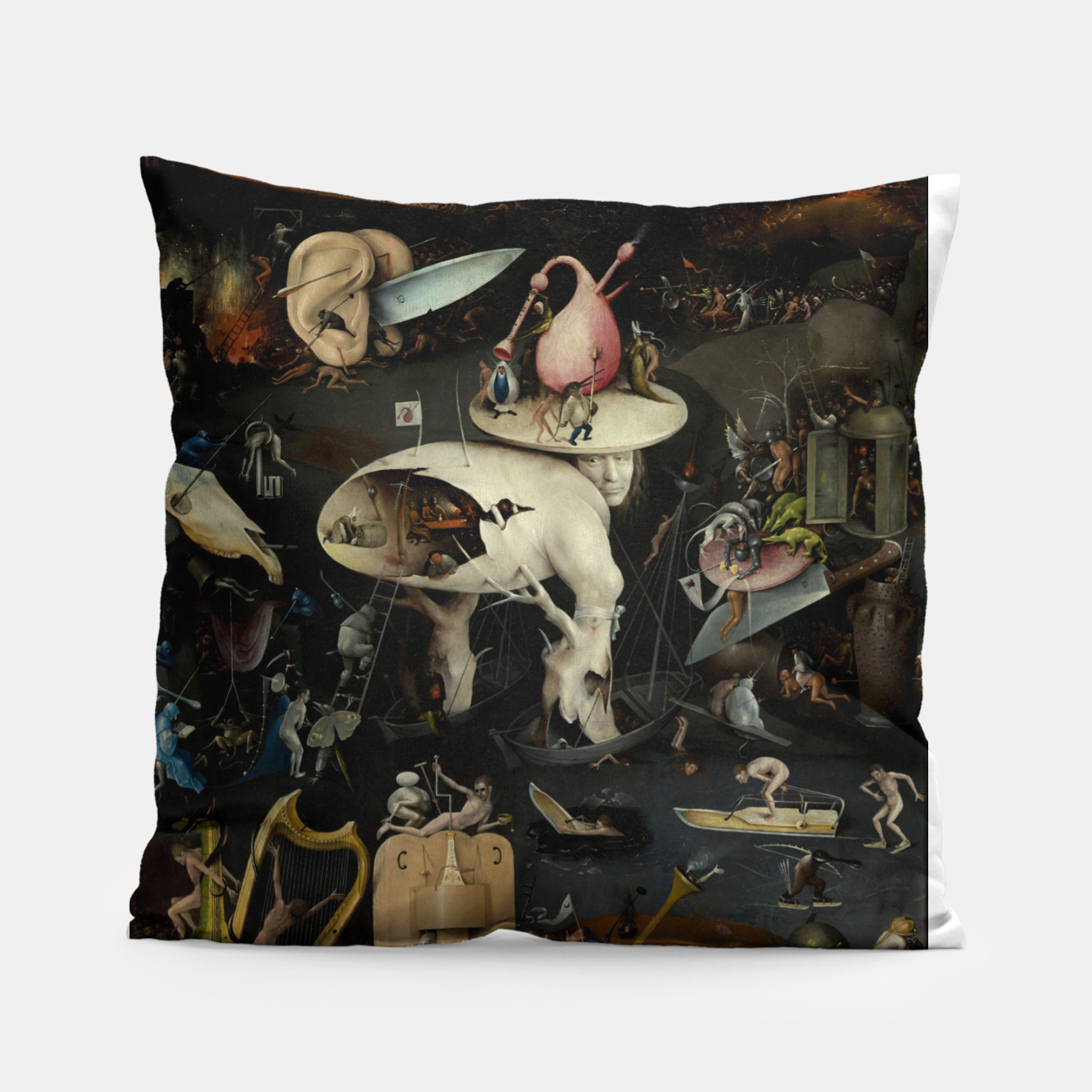 Foto Fashion and decor items from Hieronymus Bosch painting of Hell from the triptych Garden of Earthly Delights Pillow - Live Heroes