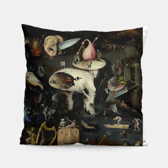 Thumbnail image of Fashion and decor items from Hieronymus Bosch painting of Hell from the triptych Garden of Earthly Delights Pillow, Live Heroes