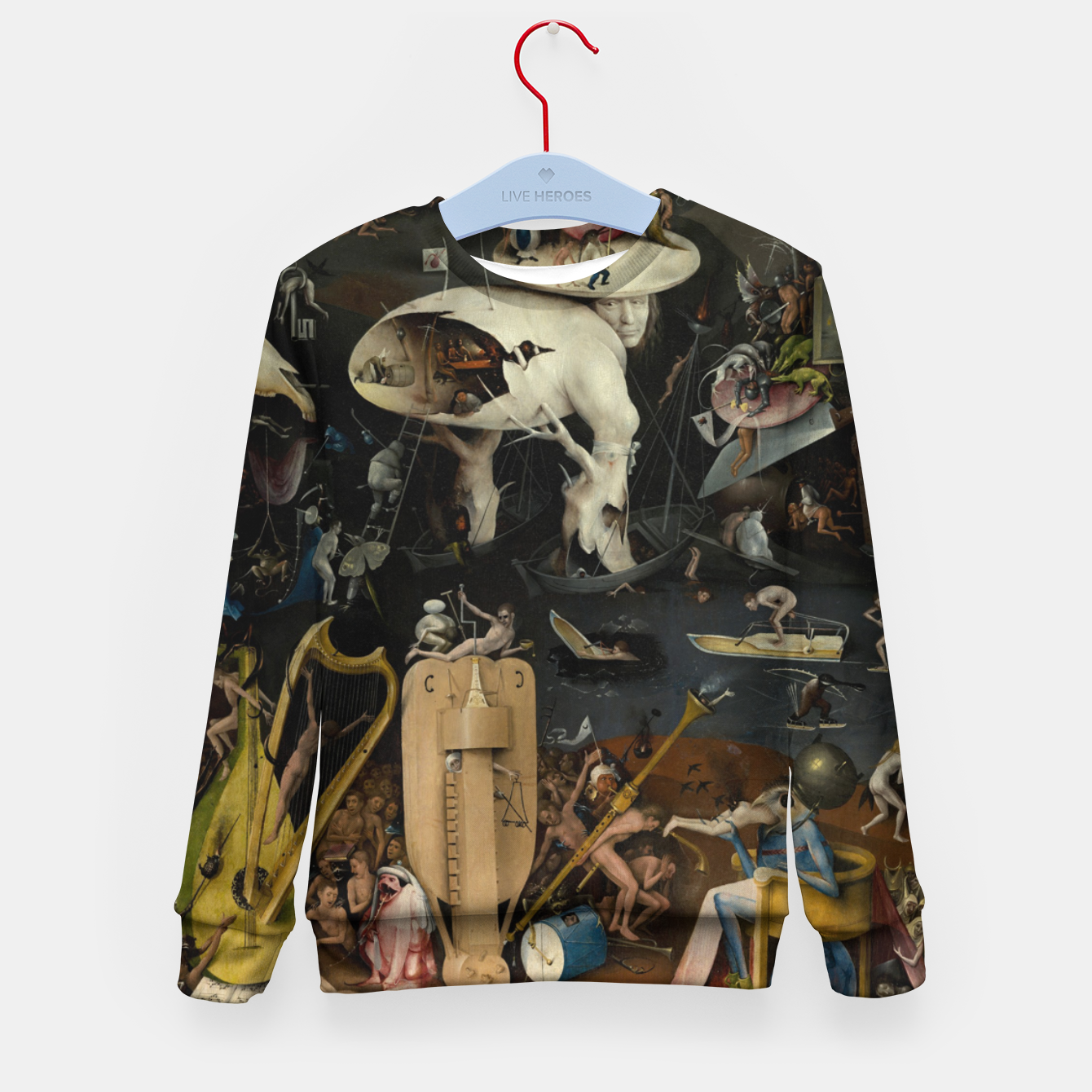 Foto Fashion and decor items from Hieronymus Bosch painting of Hell from the triptych Garden of Earthly Delights Kid's sweater - Live Heroes