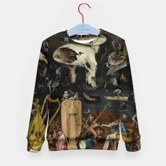 Fashion and decor items from Hieronymus Bosch painting of Hell from the triptych Garden of Earthly Delights Kid's sweater obraz miniatury