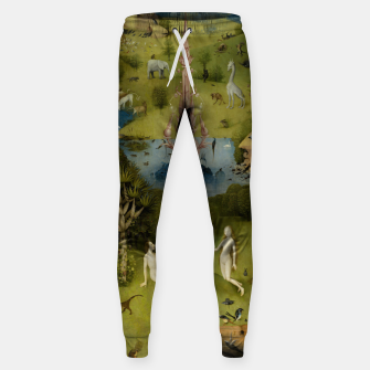 Fashion and Decor items of Hieronymus Bosch painting, Eden from the triptych Garden of Earthly Delights Sweatpants obraz miniatury