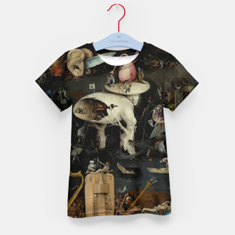 Fashion and decor items from Hieronymus Bosch painting of Hell from the triptych Garden of Earthly Delights Kid's t-shirt obraz miniatury