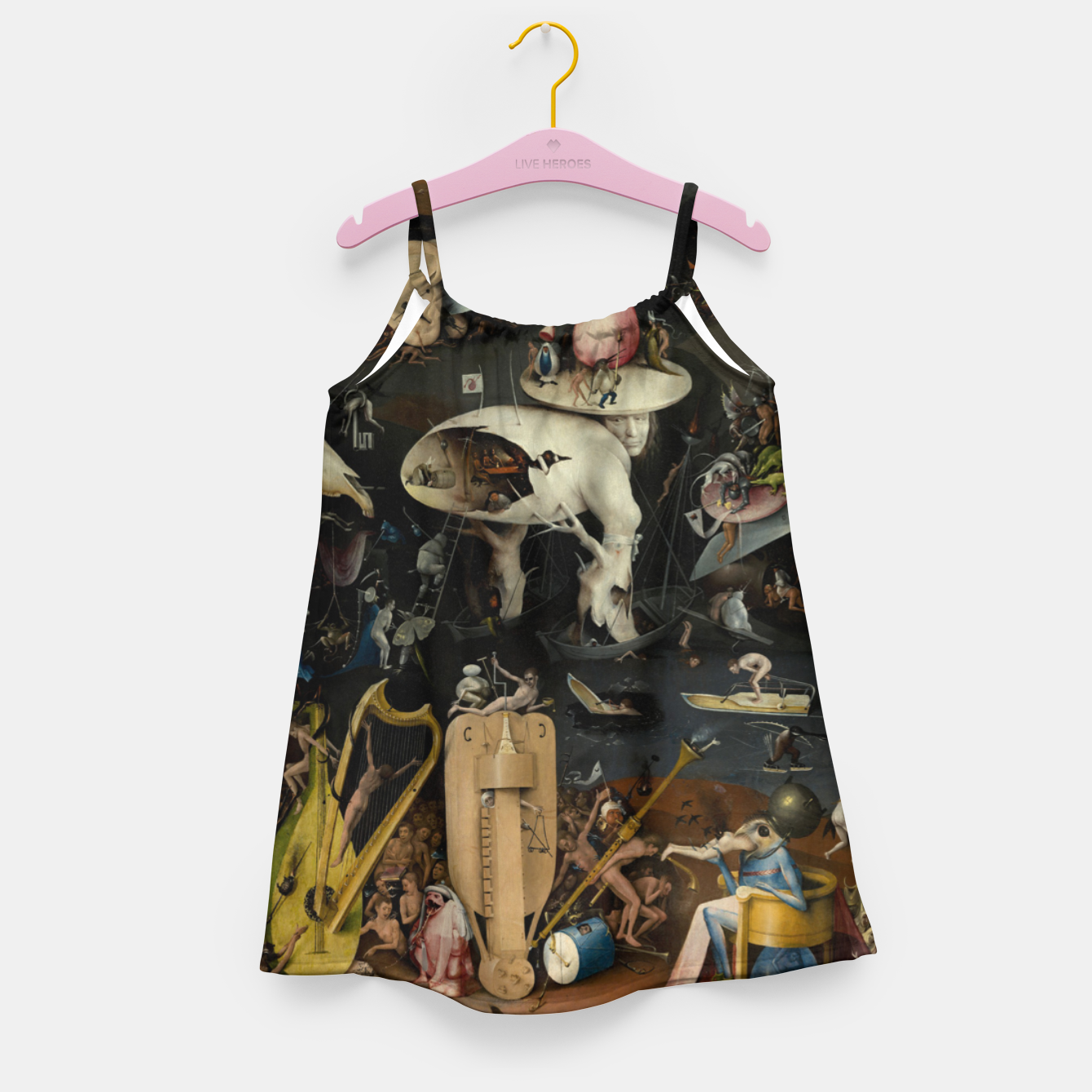 Foto Fashion and decor items from Hieronymus Bosch painting of Hell from the triptych Garden of Earthly Delights Girl's dress - Live Heroes