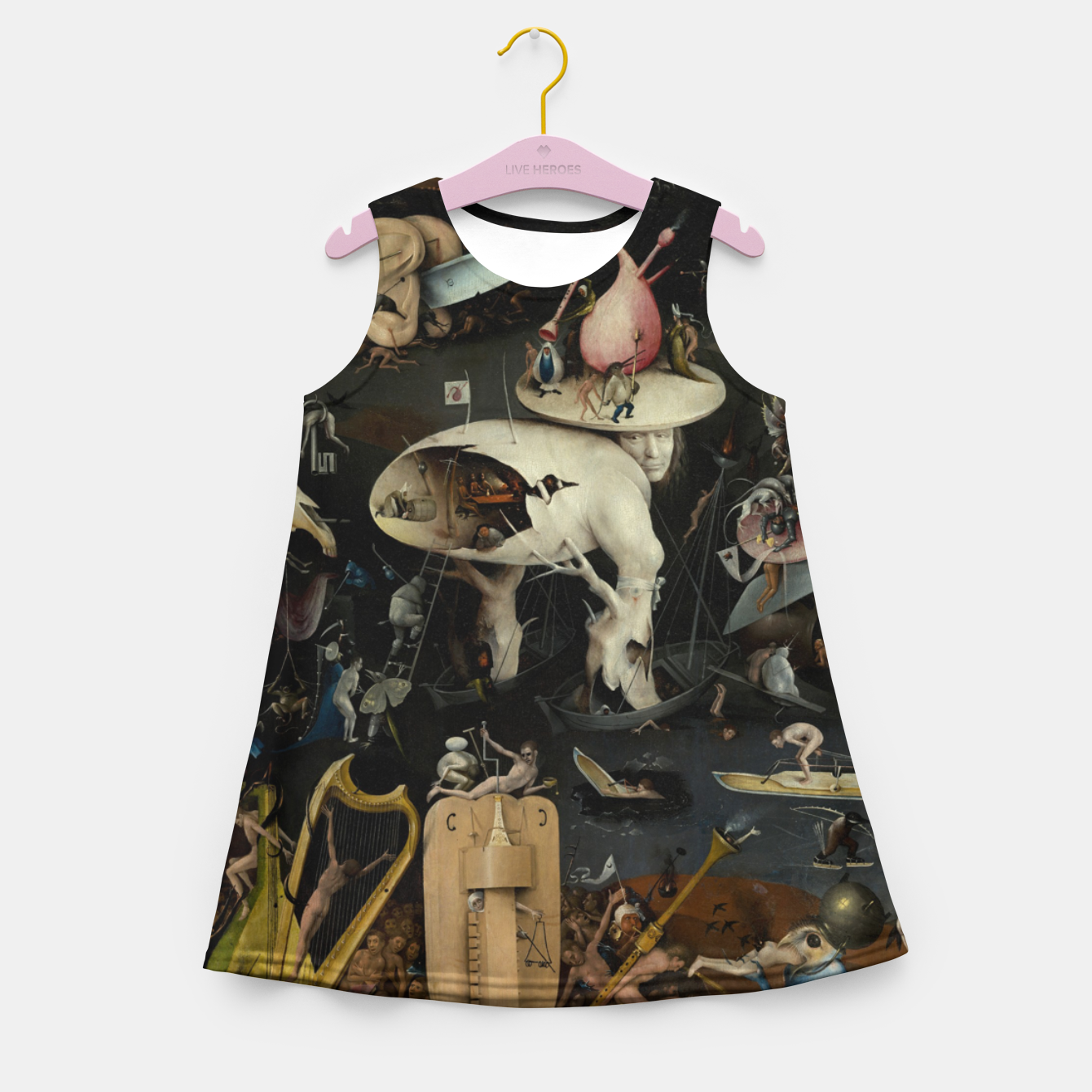 Foto Fashion and decor items from Hieronymus Bosch painting of Hell from the triptych Garden of Earthly Delights Girl's summer dress - Live Heroes