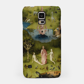 Fashion and Decor items of Hieronymus Bosch painting, Eden from the triptych Garden of Earthly Delights Samsung Case Bild der Miniatur