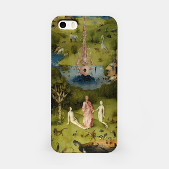 Fashion and Decor items of Hieronymus Bosch painting, Eden from the triptych Garden of Earthly Delights iPhone Case obraz miniatury