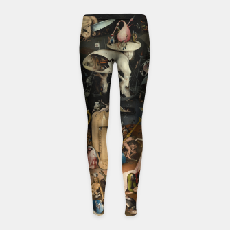 Thumbnail image of Fashion and decor items from Hieronymus Bosch painting of Hell from the triptych Garden of Earthly Delights Girl's leggings, Live Heroes