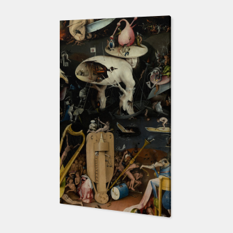 Fashion and decor items from Hieronymus Bosch painting of Hell from the triptych Garden of Earthly Delights Canvas Bild der Miniatur
