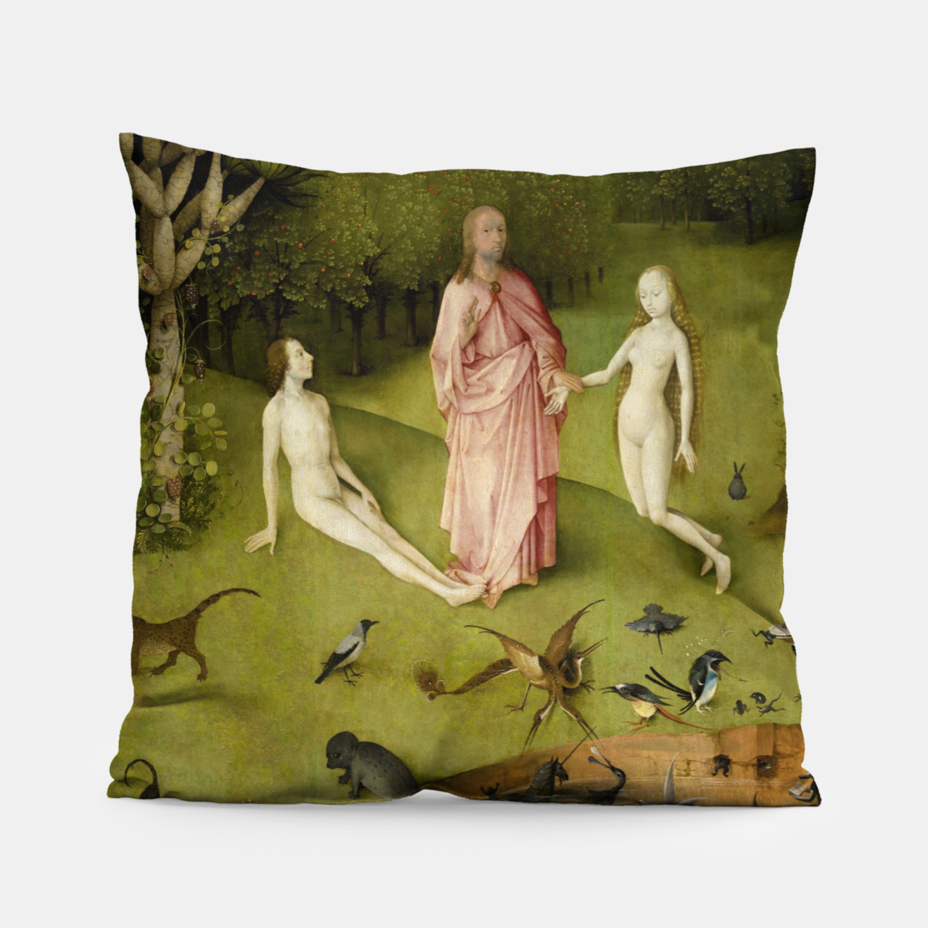 Foto Fashion and Decor items of Hieronymus Bosch painting, Eden from the triptych Garden of Earthly Delights Pillow - Live Heroes