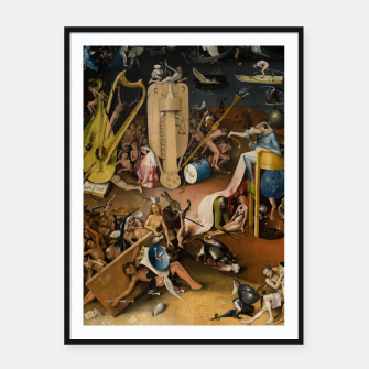 Fashion and decor items from Hieronymus Bosch painting of Hell from the triptych Garden of Earthly Delights Framed poster Bild der Miniatur