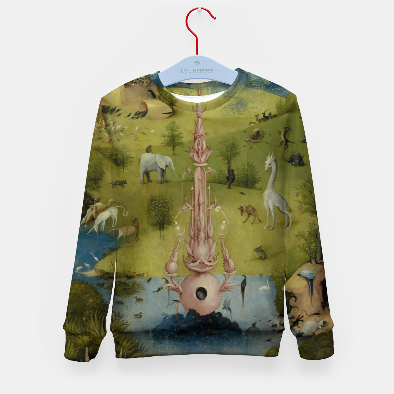 Foto Fashion and Decor items of Hieronymus Bosch painting, Eden from the triptych Garden of Earthly Delights Kid's sweater - Live Heroes