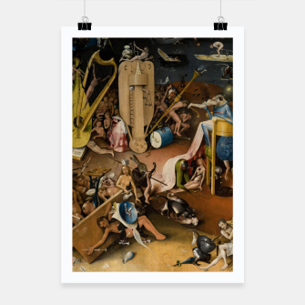 Fashion and decor items from Hieronymus Bosch painting of Hell from the triptych Garden of Earthly Delights Poster Bild der Miniatur