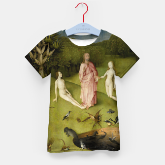 Fashion and Decor items of Hieronymus Bosch painting, Eden from the triptych Garden of Earthly Delights Kid's t-shirt obraz miniatury