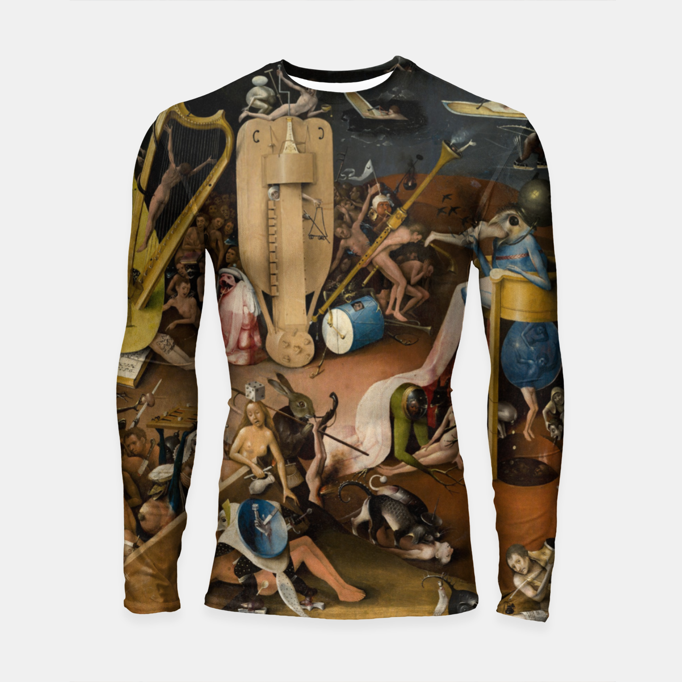 Zdjęcie Fashion and decor items from Hieronymus Bosch painting of Hell from the triptych Garden of Earthly Delights Longsleeve rashguard  - Live Heroes
