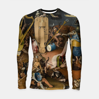 Thumbnail image of Fashion and decor items from Hieronymus Bosch painting of Hell from the triptych Garden of Earthly Delights Longsleeve rashguard , Live Heroes