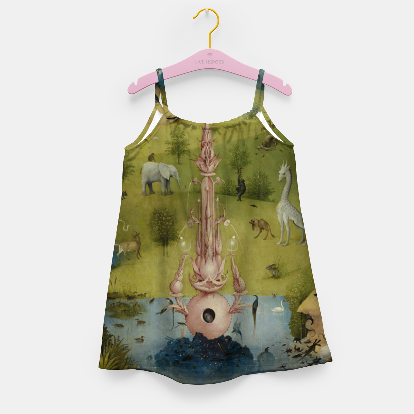 Foto Fashion and Decor items of Hieronymus Bosch painting, Eden from the triptych Garden of Earthly Delights Girl's dress - Live Heroes