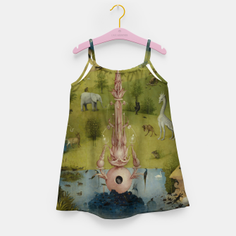 Miniatur Fashion and Decor items of Hieronymus Bosch painting, Eden from the triptych Garden of Earthly Delights Girl's dress, Live Heroes