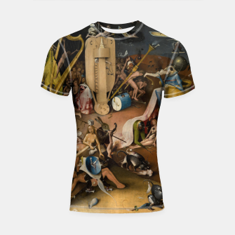 Fashion and decor items from Hieronymus Bosch painting of Hell from the triptych Garden of Earthly Delights Shortsleeve rashguard Bild der Miniatur