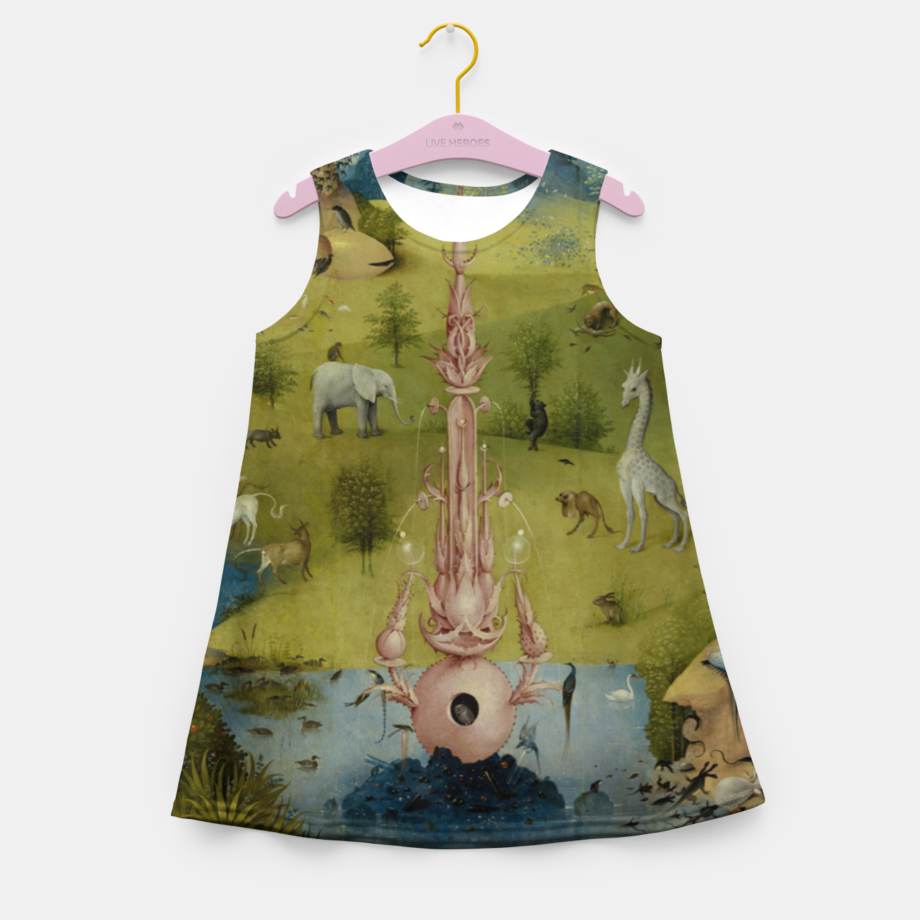 Foto Fashion and Decor items of Hieronymus Bosch painting, Eden from the triptych Garden of Earthly Delights Girl's summer dress - Live Heroes