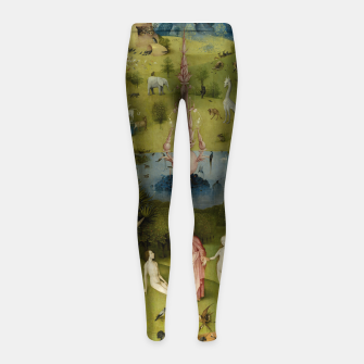 Fashion and Decor items of Hieronymus Bosch painting, Eden from the triptych Garden of Earthly Delights Girl's leggings obraz miniatury