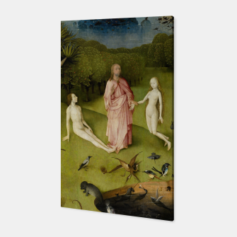 Fashion and Decor items of Hieronymus Bosch painting, Eden from the triptych Garden of Earthly Delights Canvas obraz miniatury