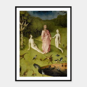 Fashion and Decor items of Hieronymus Bosch painting, Eden from the triptych Garden of Earthly Delights Framed poster obraz miniatury